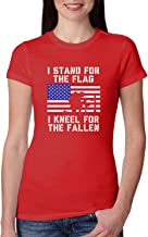 I Stand for The Flag I Kneel for The Fallen | Womens Americana/American Pride Junior Fit Tee Graphic T-Shirt