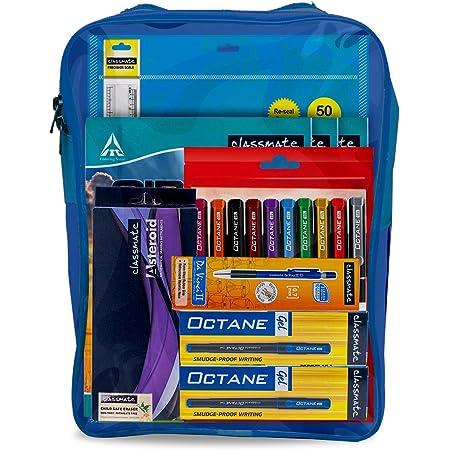 Classmate Scholastic Bag Kit | 12 Assorted Items | Online Classes| Gifting Kit | A4 Sheets | Notebooks | Asteroid Geometry Box | Octane Colour Burst Gel pens | Octane Gel Pens