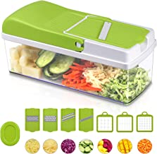 10 in 1 Food Slicer Chopper, All in One Vegetable Cutter Slicer Dicer Chopper Multi-functional Food Chopper With 7 Interchangeable Blades Lemon Juicer Food Safe Container Cleaning Tool Cheese Fruit