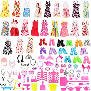 Barwa 123 Pcs Clothes Set EU CE-EN71 Certified Include 15 Pack Clothes Party Grown Outfits and 108 Pcs Different Doll Acce...