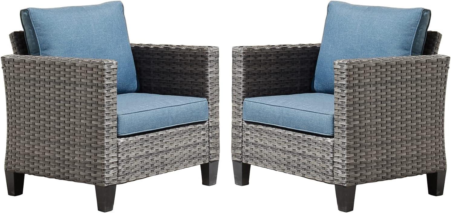 XIZZI Patio Furniture, Outdoor Garden Sofa sectional, Wicker Patio Furniture 2 Chairs(Grey/Blue)