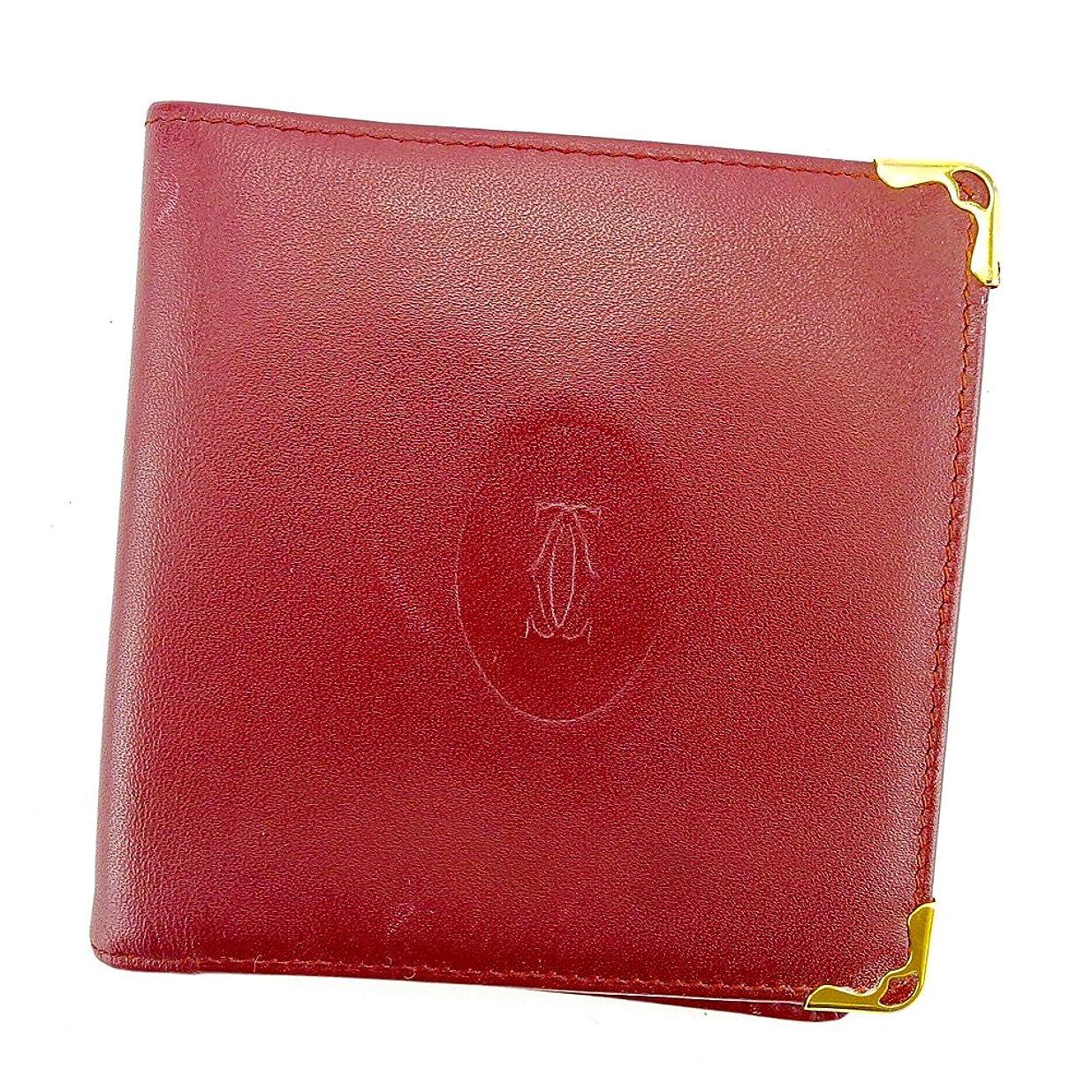市の中心部誤講義(カルティエ) Cartier 二つ折り 財布 ボルドー×ゴールド マストライン レディース メンズ 可 中古 S567