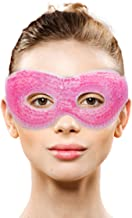 Gel Eye Mask with Eye Holes- Hot Cold Compress Pack Eye Therapy   Cooling Eye Mask for Puffy Eyes, Dry Eyes, Headaches, Migraines, Dark Circles, Sinus - Reusable Eye Face Mask   Ergo Gel Bead (Pink)