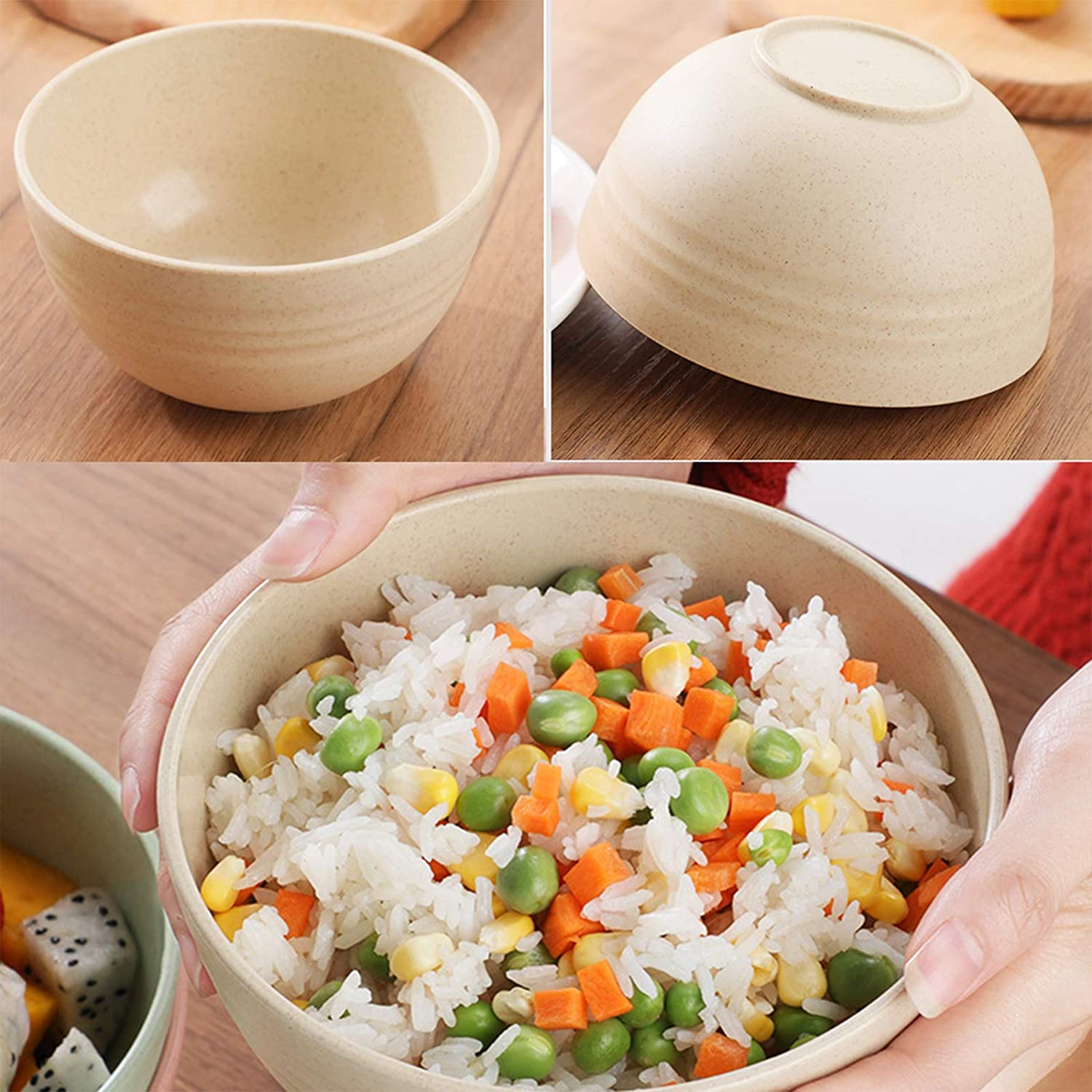 5Pcs Small Food-Safe Lightweight Cereal Bowls for Kids 5 Colours 12cm//4.72in Unbreakable Wheat Straw Bowl for Dishwasher Microwave