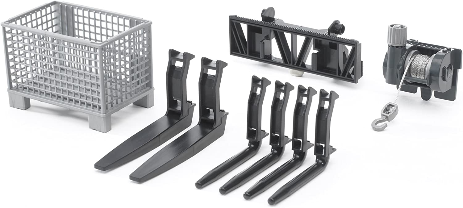 Bruder Accessories For Frontloader  BoxType Pallet, Winch, And Forks