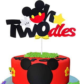 MALLMALL6 Mickey Two Birthday Cake Topper Twodles Mickey Birthday Party Supplies Cute Cake Decorations Two Years Old Mickey Themed Birthday Party Favors for 2nd Toddlers Baby Boys Girls