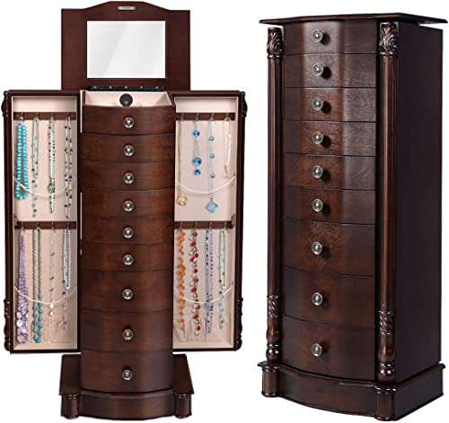 wholesale Giantex Standing Jewelry Cabinet, 15.75in X 39.75in X discount 11.6in, online Antique Walnut outlet sale