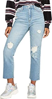 Wild Fable Women's High-Rise Medium Wash Destructed Kick Flare Jeans