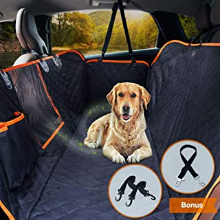 """Upgraded Dog Seat Cover for Cars Trucks SUVs Pet Car Seat Cover Waterproof Dog Travel Back Seat Hammock Bench Protector with Mesh Window/Seat Belt Opening/Storage Pocket, 54"""" W x 58"""" L, Black/Orange"""