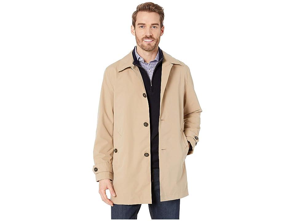 Cole Haan Stand Collar Rain Jacket with Back Hem Vent (Khaki) Men