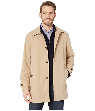Cole Haan Stand Collar Rain Jacket with Back Hem Vent (Khaki) Men