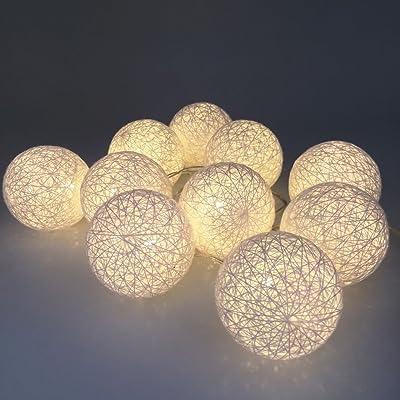 Cadena de luces 12 ledes bolas algodón rosa morado, fucsia y ...