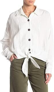 Free People, Women's Sunstreaks Tie Front Top, Ivory, Size XL