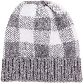 CRUOXIBB Winter Soft Stretch Buffalo Plaid Cuff Beanie Hat Thick Chunky Warm Knit Skull Ski Cap