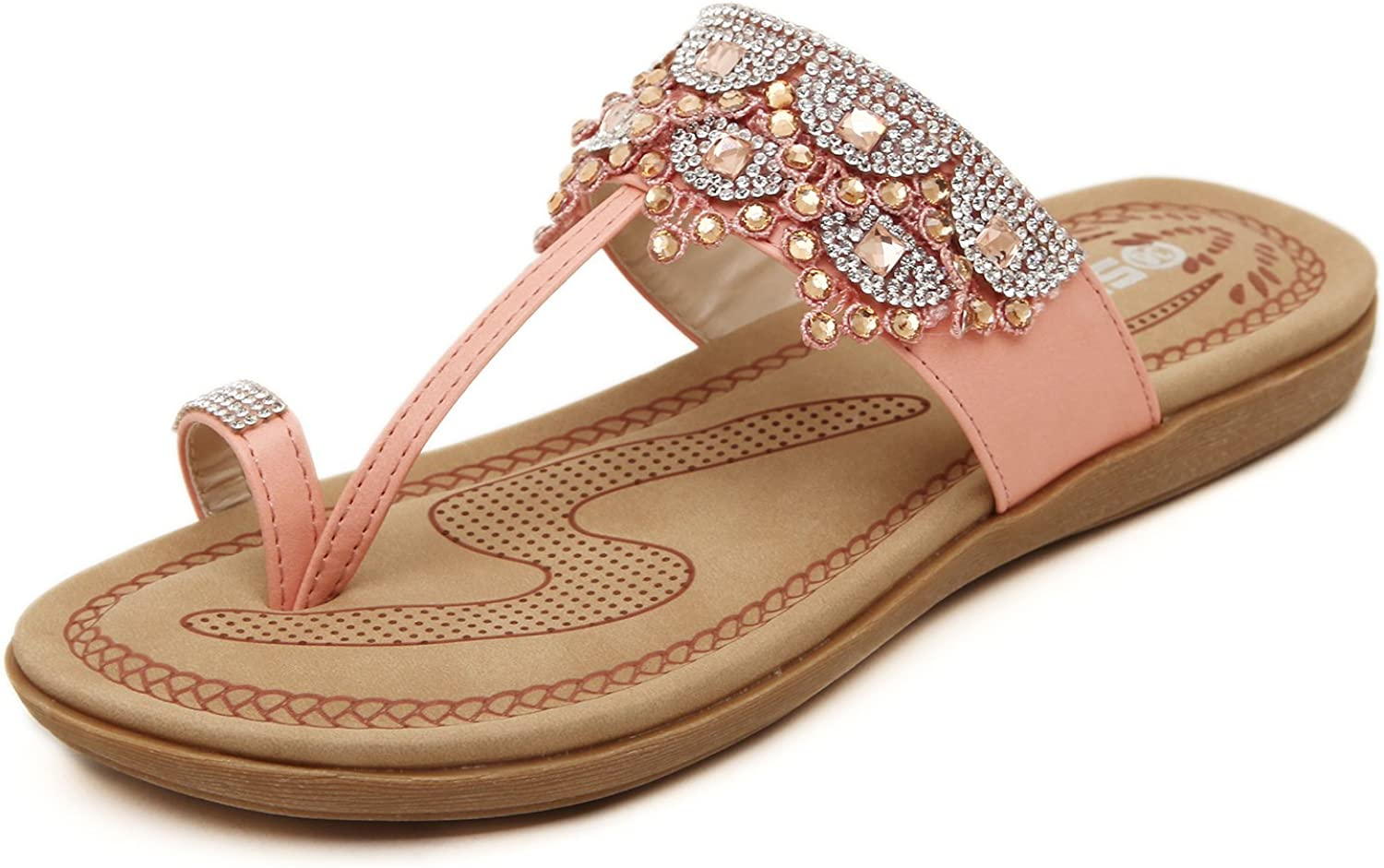 DQQ Women's Beaded T Strap Thong Sandal