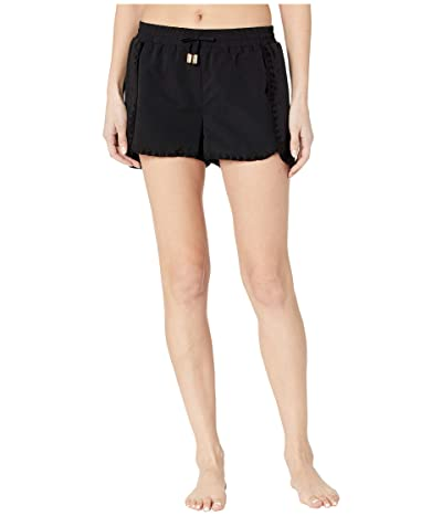 Cabana Life Essentials Microfiber Embroidered Swim Shorts Bottoms (Black) Women