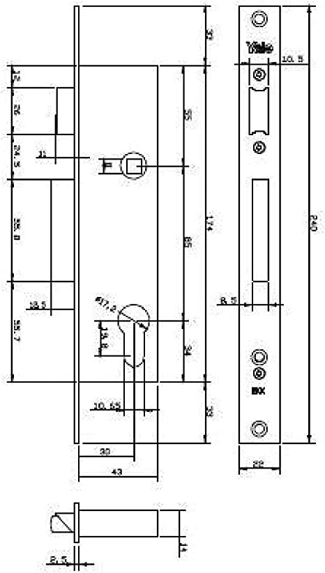 Entrada 20 mm Yale 5000YC20IN3030 Cerradura Para Carpinter/ía Met/álica