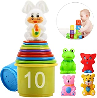 eyscar Stacking Cups Early Educational Toddlers Toy Bathtub Toys with Numbers & Animals Game for Kids Baby 11 Pack (with Numbers)