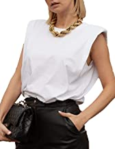 SAFRISIOR Women Basic Solid Sleeveless Tank Top Cotton Round Neck Fitted Racerback Tank Vest