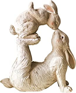 Home Accessories Sculpture for Your Patio & Yard Mother Bunny Kissing Her Baby Bunny Easter Statue Yard Decor Outdoor Lawn...