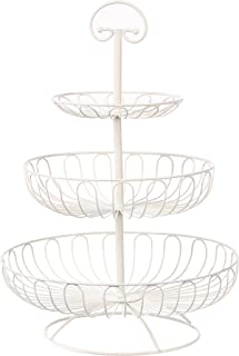 Juvale 3-Tier Decorative Display Fruit Basket, Cream, 18.25 Inches Tall
