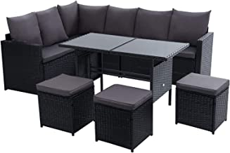 Gardeon Outdoor Table and Chairs Garden Outdoor Rattan Furniture Set-Black
