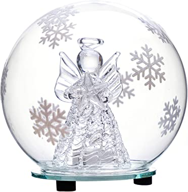 Christmas Angel Snow Globe Decorations - Color Changing LED Glass Ornament Decor