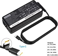 65W USB C AC Charger Fit for Lenovo ThinkPad T480 T480S 4X20M26268 ADLX65YLC2A ADLX65YAC2A ADLX65YCC2A ADLX65YDC2A Model Type-C Laptop Power Supply Adapter Cord