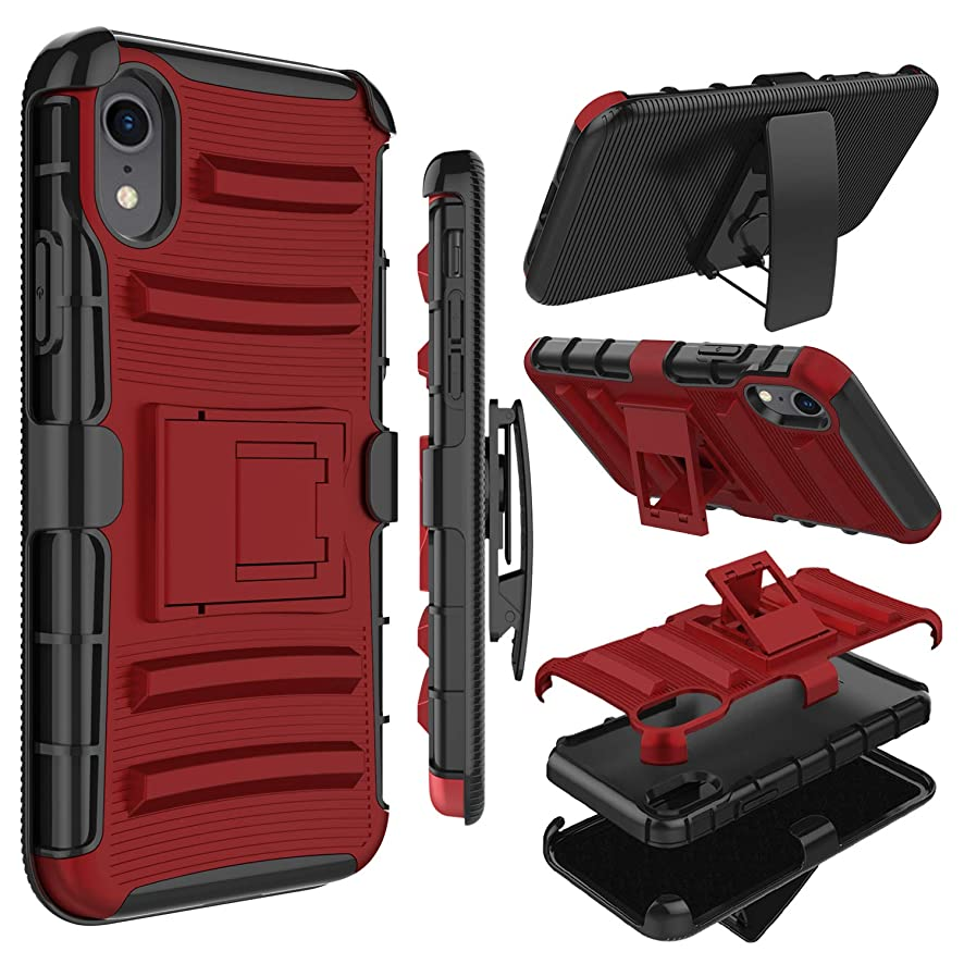 Zenic Compatible iPhone XR Case, Heavy Duty Shockproof Full-Body Protective Hybrid Case with Kickstand and Swivel Belt Clip Compatible with iPhone XR 6.1 inch(Red)