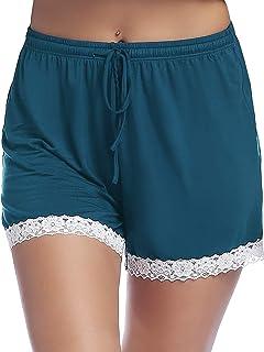 Womens Soft Pajama/Pj/Sleep/Lounge Shorts Bottoms with Lace Trim