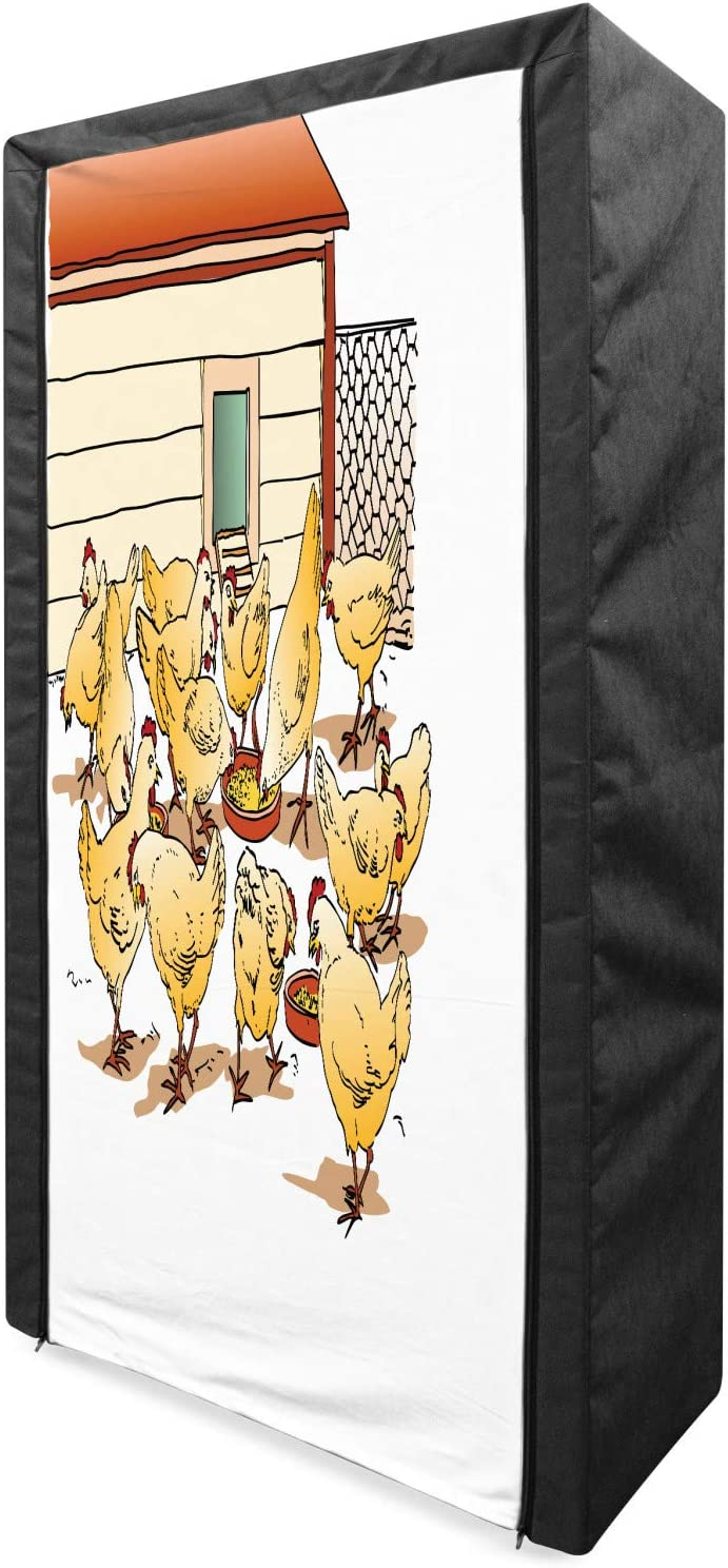 shop Lunarable Chicken Portable Great interest Fabric Wardrobe Flock a of in Hens F