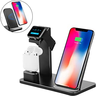 Fast Wireless Charger Stand, DHOUEA 3 in 1 Apple Watch Stand iPhone X 6 7 8 Plus Apple Watch 3 2 1 AirPods, Samsung Note 8 5 Galaxy S9 S8 Plus S7 S6 Edge