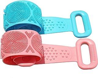 RuoFeng - cepillo para polvo de baño de silicona para la espalda con cepillo para polvo de doble cara (28 pulgadas/70 cm, ...