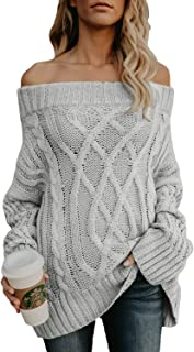 Womens Loose Knitted Off The Shoulder Oversized Sweaters Pullovers Top