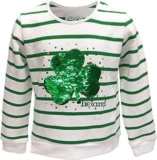 Traditional Craft Limited White/Green Stripe 2 Way Sequin Shamrock Kids Sweatshirt