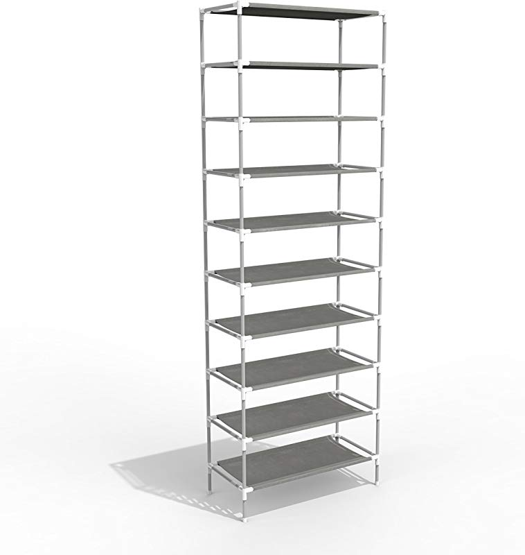 OppsDecor Oanon 10 Tiers Shoe Rack Easy Assembled Non Woven Fabric Shoe Tower Stand Sturdy Shelf Storage Organizer Cabinet