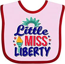 Inktastic Little Miss Liberty for 4th of July Baby Bib Pink and Red