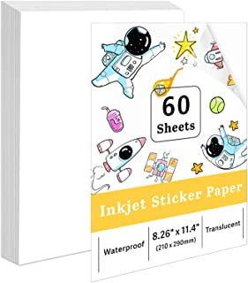 $23 » Sponsored Ad - 60 Sheets Printable Vinyl Sticker Paper Translucent for Inkjet Printer - 8.5 x 11 Inches Clear Vinyl Sticke...