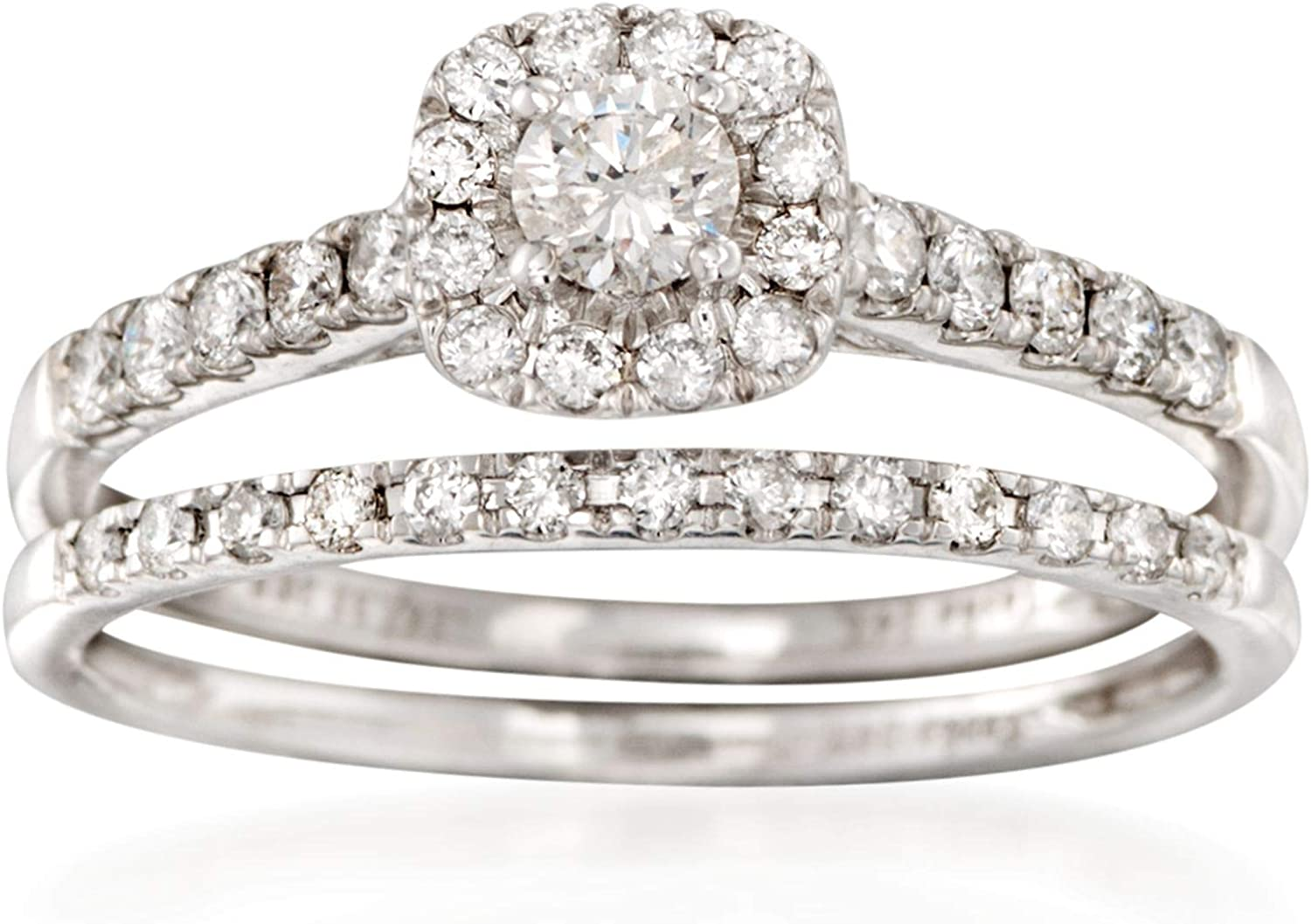 Ross-Simons 0.50 ct. t.w. Diamond Bridal Set: Engagement and Wedding Rings in 14kt White Gold