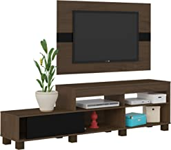 Artely Ever TV Stand and Panel for 47 Inch TV, Walnut with Black - Set of 2