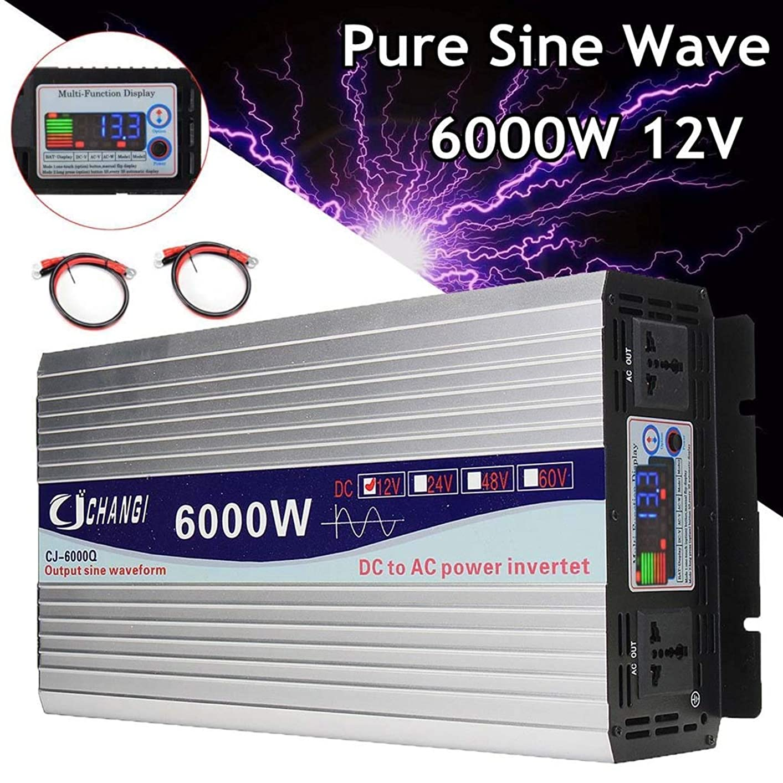百科事典マディソン戦うインテリジェントスクリーン純粋な正弦波力インバーター12V / 24Vに220V 3000W / 4000W / 5000W / 6000W変換アダプタLCDスクリーン (Voltage : 4000W, Watts : 60V)