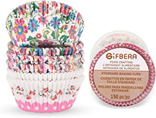 Gifbera Bright Floral Standard Muffin Baking Cups Colorful Theme, Flower Decorate Paper Cupcake Liners Cups, 150-Count