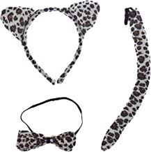 Lux Accessories Halloween Cat Kitty Costume Leopard Fabric Ears Bow Tie Tail