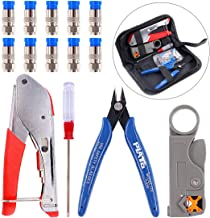 Swpeet 14Pcs Cable Crimper Compression Tool Kit, Including Cable Crimper and Cable Stripper with 10Pcs Compression Connectors Perfect for Connector Coaxial RG59 RG6F BNC RCA Crimper Cable