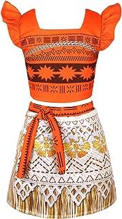 YiZYiF Princess Moana Costume Adventure Outfit Skirt Set Girls Kids Cosplay Dress up Clothes
