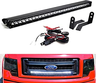 iJDMTOY Behind Grille Mount 30-Inch LED Light Bar Kit For 2009-2014 Ford F-150, Includes (1) 150W High Power CREE LED Lightbar, Mesh Grill Mounting Brackets & On/Off Switch Wiring Kit