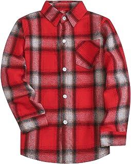 SANGTREE Boys' Oxfod/Flannel/Denim Cotton Button Down Shirt