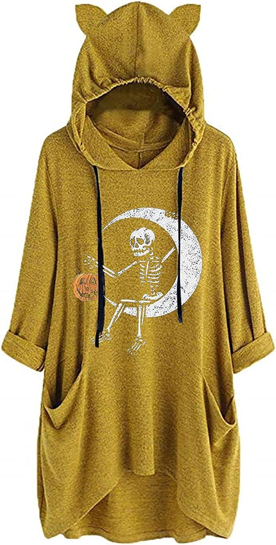 INESVER Womens Plus Size Hoodie Halloween Long Sleeve Sweatshirt Casual Blouse Tees with Pocket Cute Dress