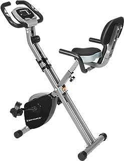 SONGMICS Hemträning, träningscykel, hemtränare, vikbar, med ryggstöd, pulsmätning, mobiltelefonhållare, 8 magnetiska motst...