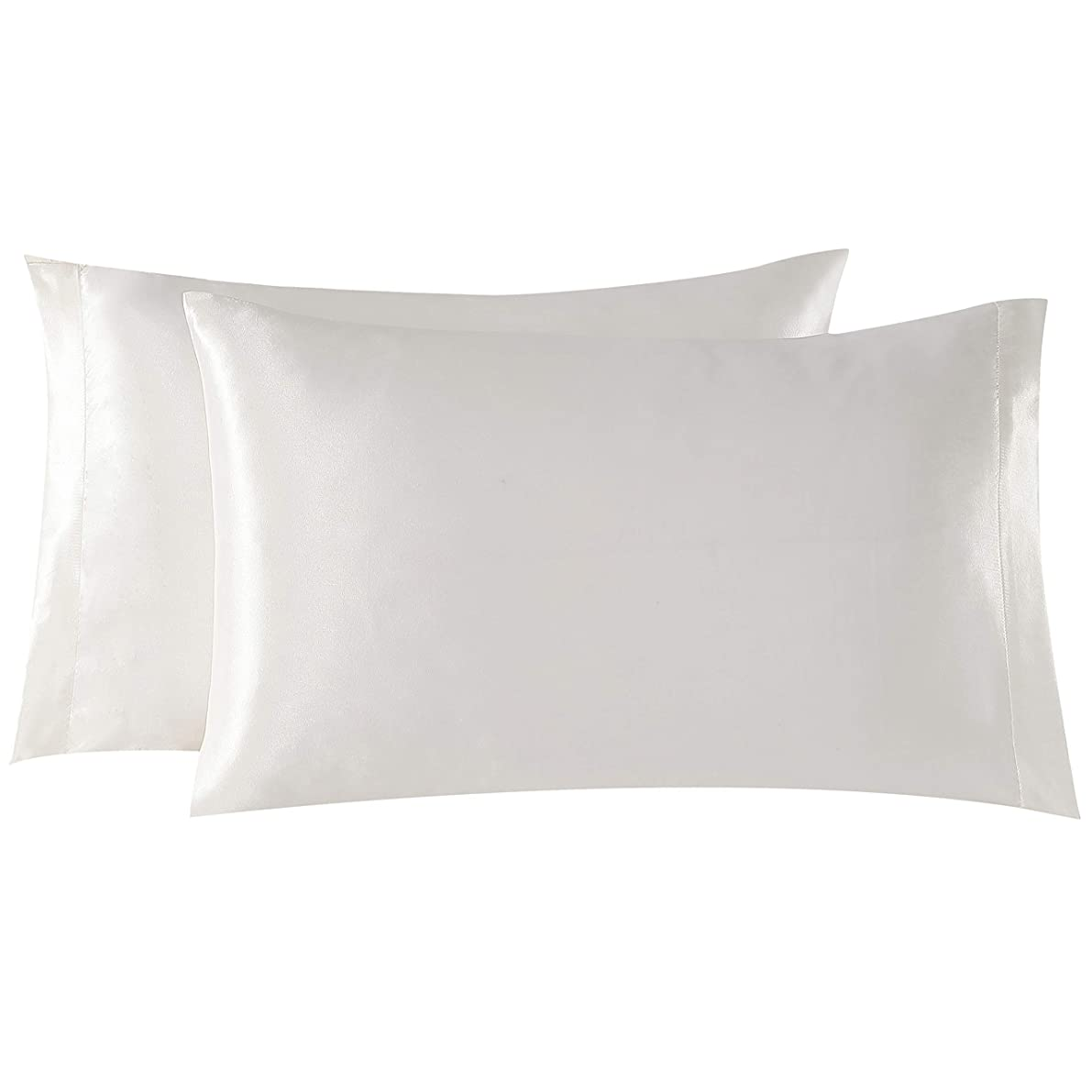 EXQ Home Satin Pillowcases Set of 2 for Hair and Skin Standard/Queen Size 20x30 Ivory Pillow Case with Envelope Closure (Anti Wrinkle,Hypoallergenic,Wash-Resistant)